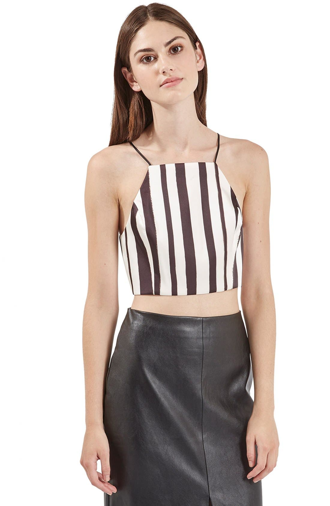 Main Image - Topshop Stripe Wrap Back Crop Top