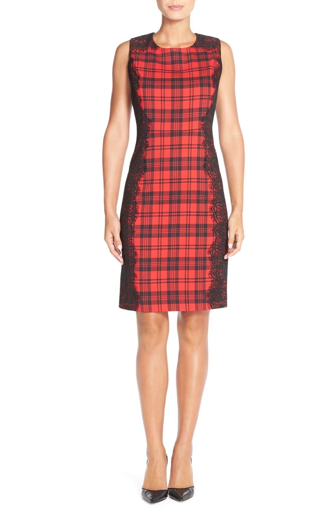 Alternate Image 4  - ChettaB Plaid & Lace Sheath Dress