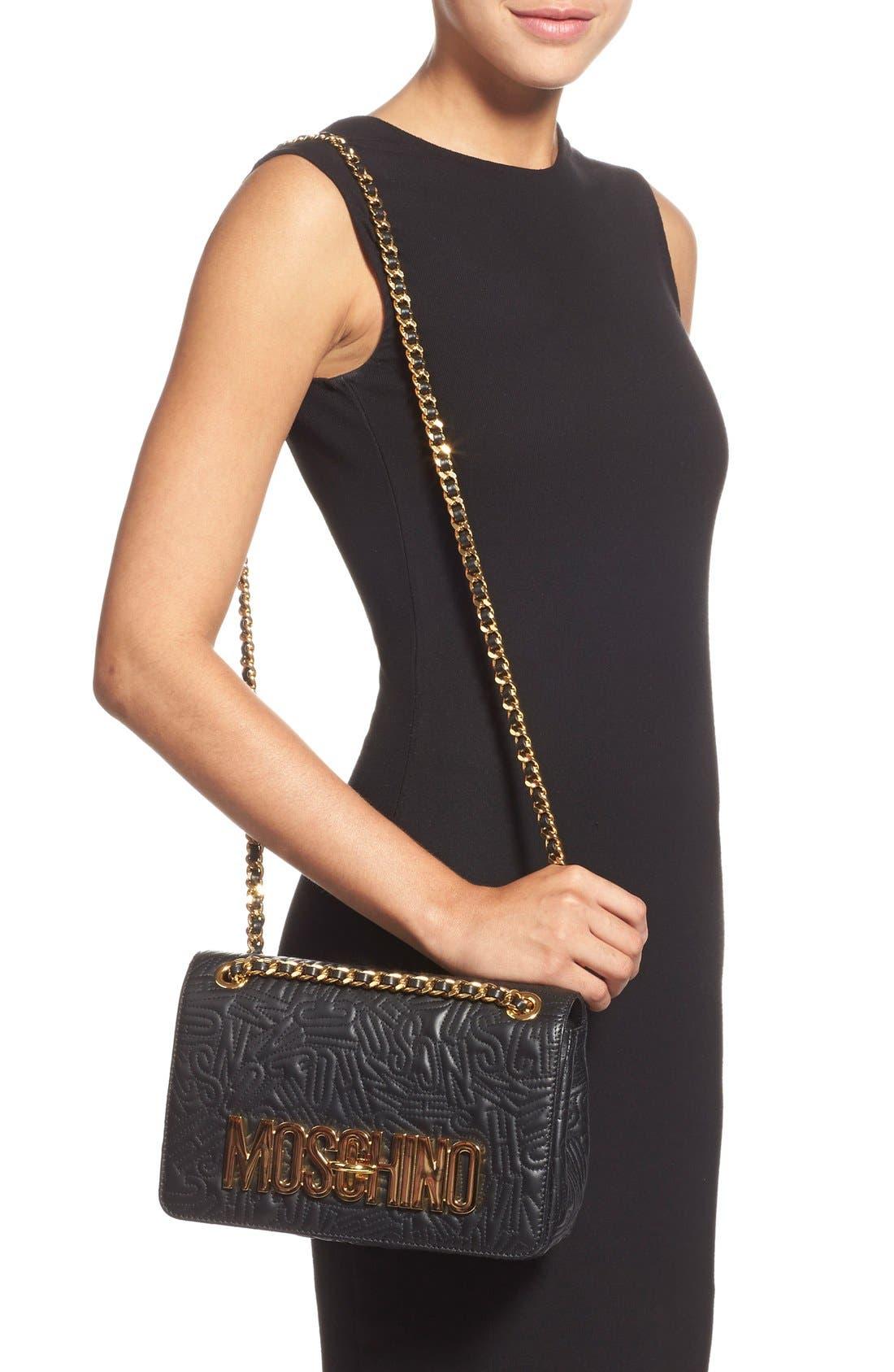 Alternate Image 2  - Moschino Logo Embossed Leather Crossbody Bag