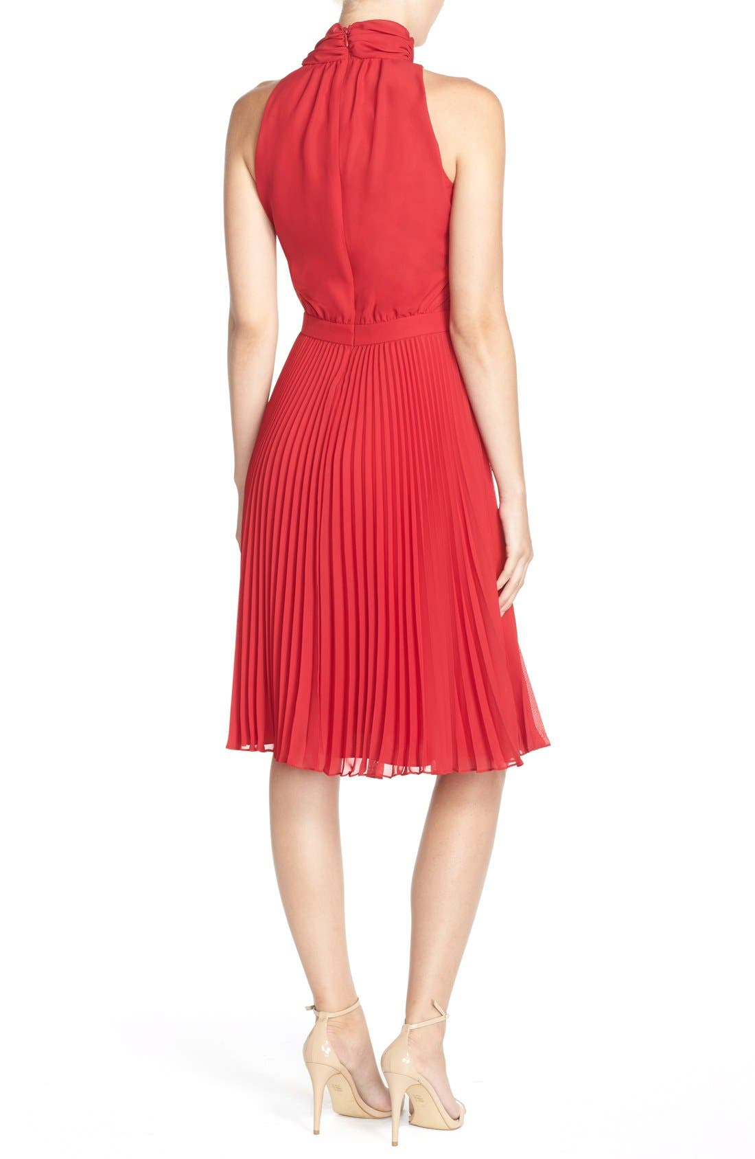 Alternate Image 2  - Maggy London Tie Neck Pleat Chiffon Blouson Dress
