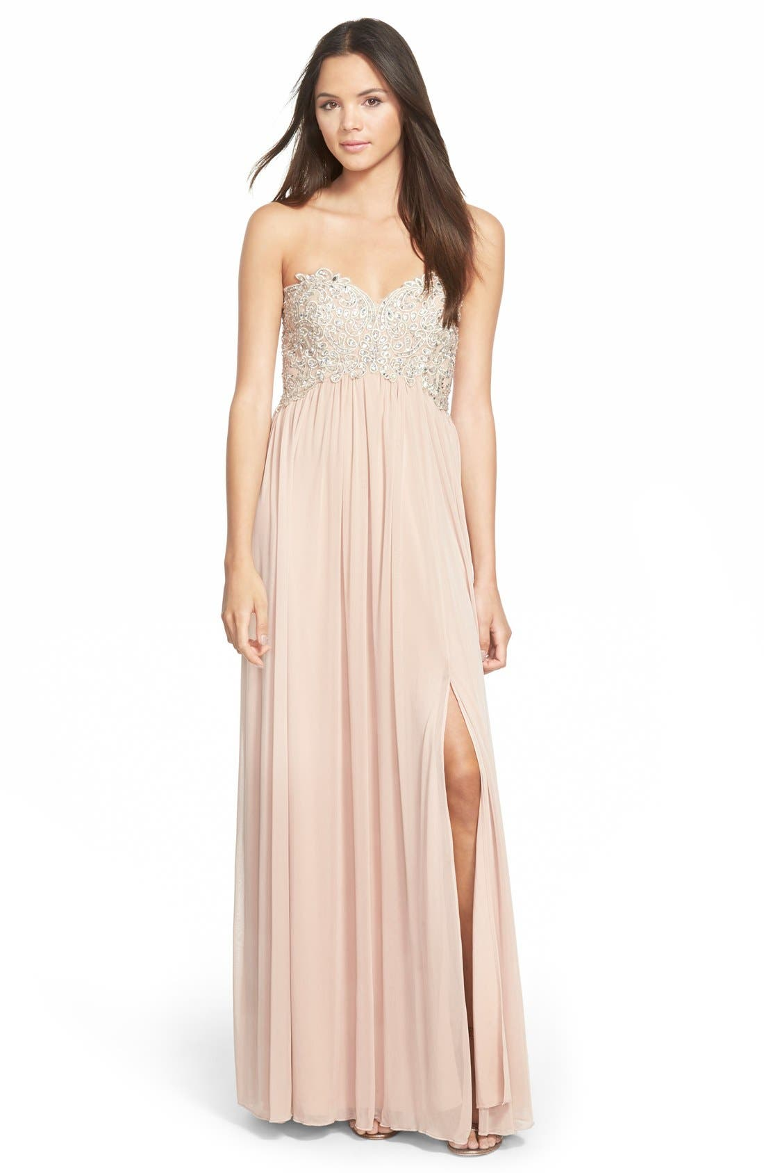 Main Image - Sequin Hearts Strapless Embellished Gown