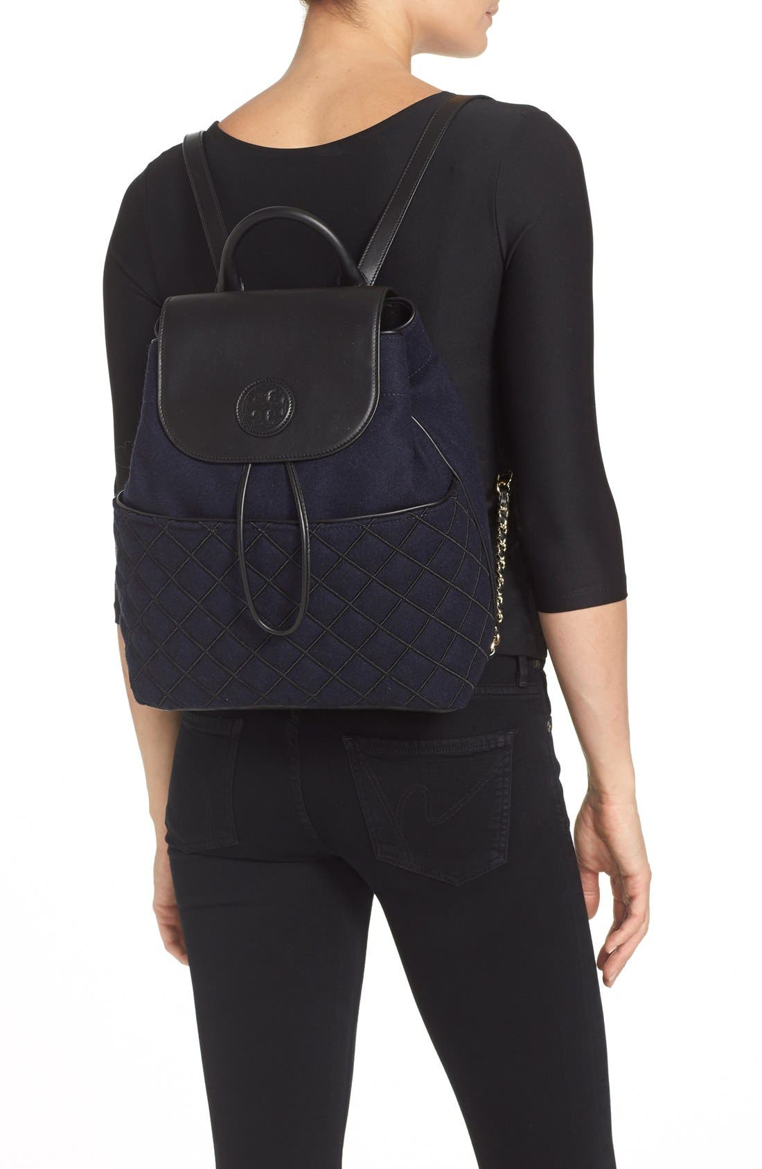 Alternate Image 2  - Tory Burch 'Marion' Quilted Flannel Backpack