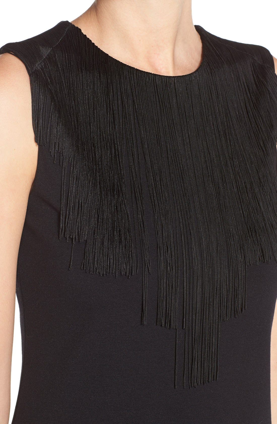 Alternate Image 5  - BCBGMAXAZRIAFringe Neck PonteDrop Waist Dress