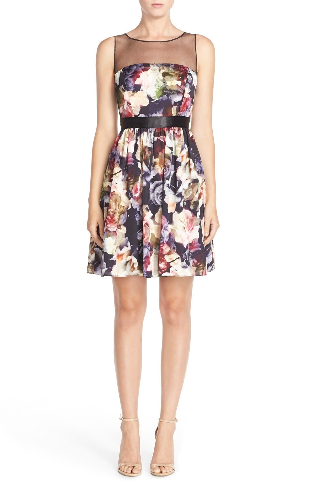 Alternate Image 4  - Adrianna Papell Floral Charmeuse Fit & Flare Dress