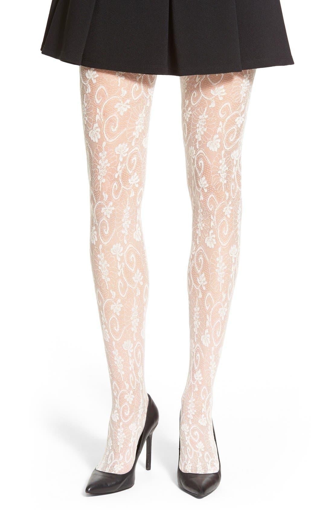 Alternate Image 1 Selected - Oroblu 'Estella' Floral Lace Tights