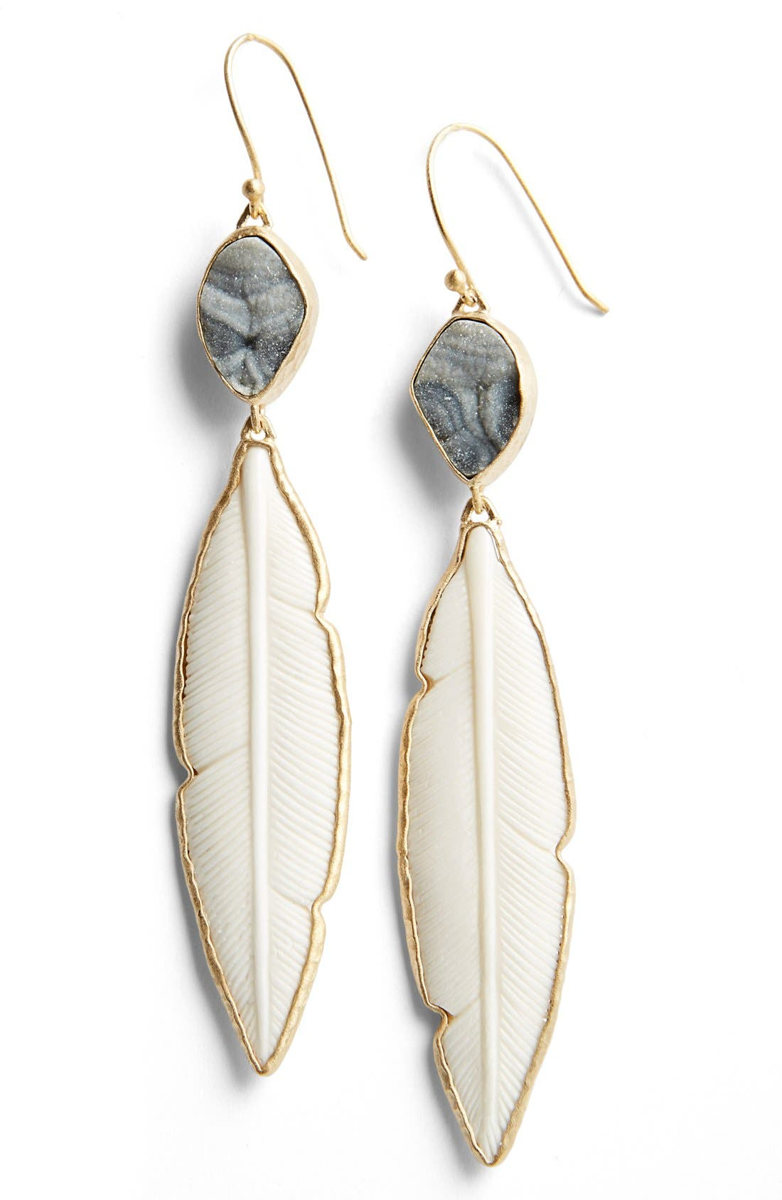 Main Image - Heather Benjamin Carved Bone Feather Drop Earrings