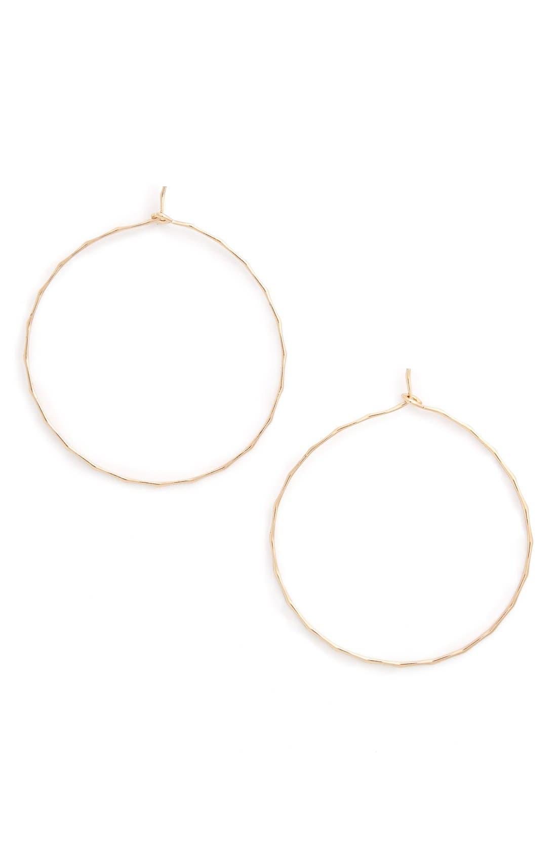 Main Image - BP. Dainty Hammered Hoop Earrings
