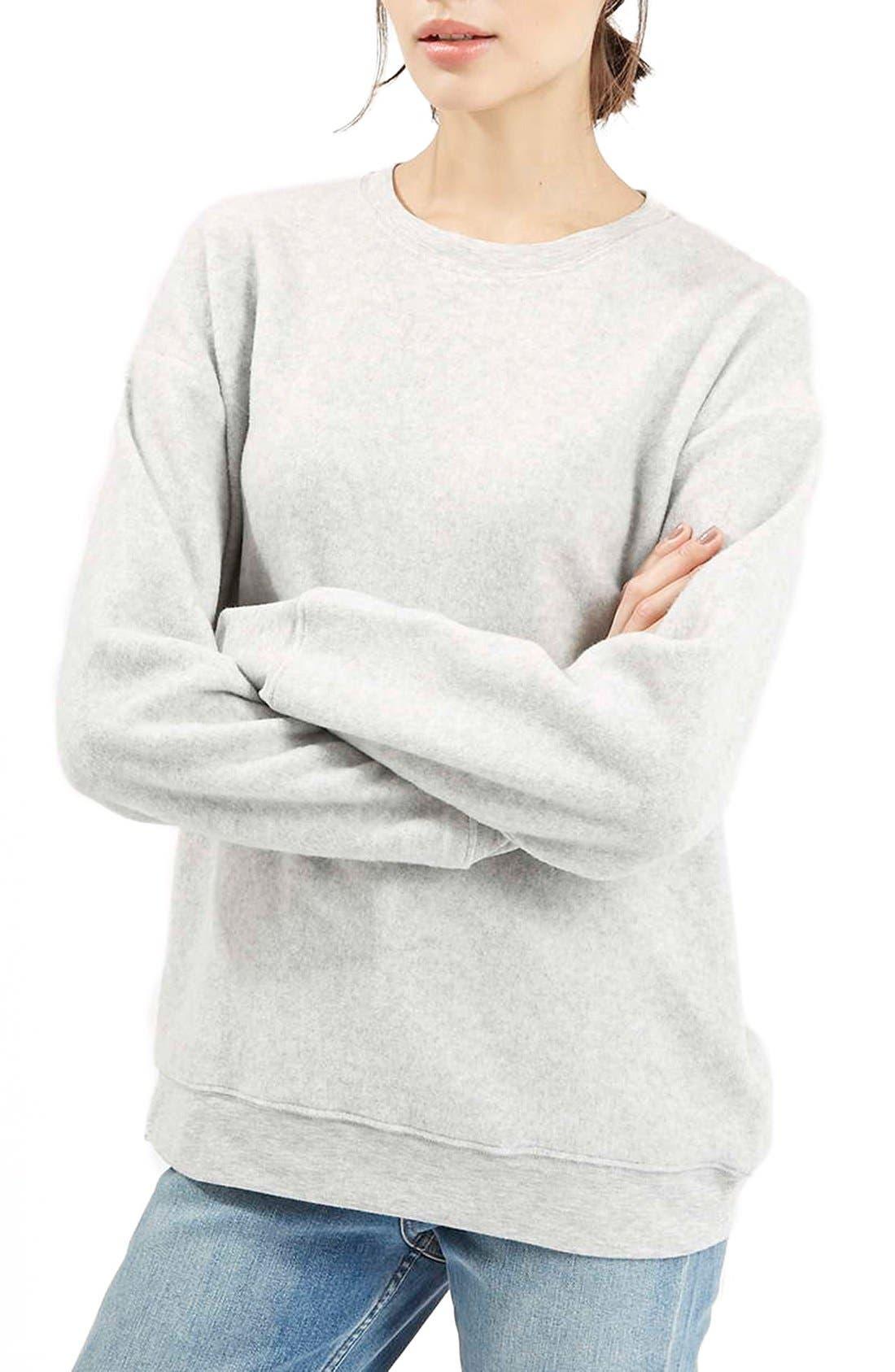 Alternate Image 1 Selected - Topshop BrushedCrewneck Sweatshirt
