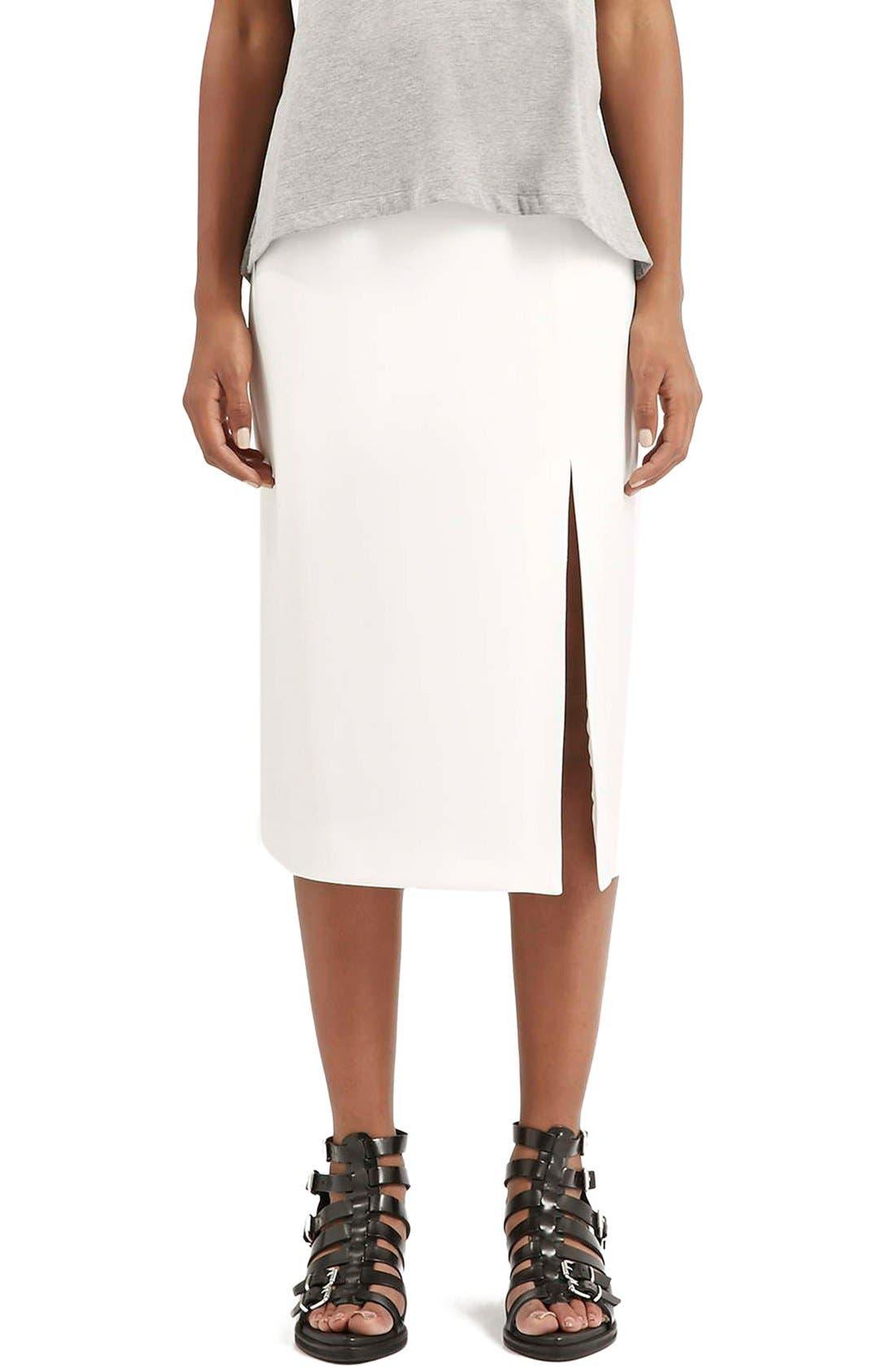 Alternate Image 1 Selected - Topshop Boutique Side Slit Midi Skirt