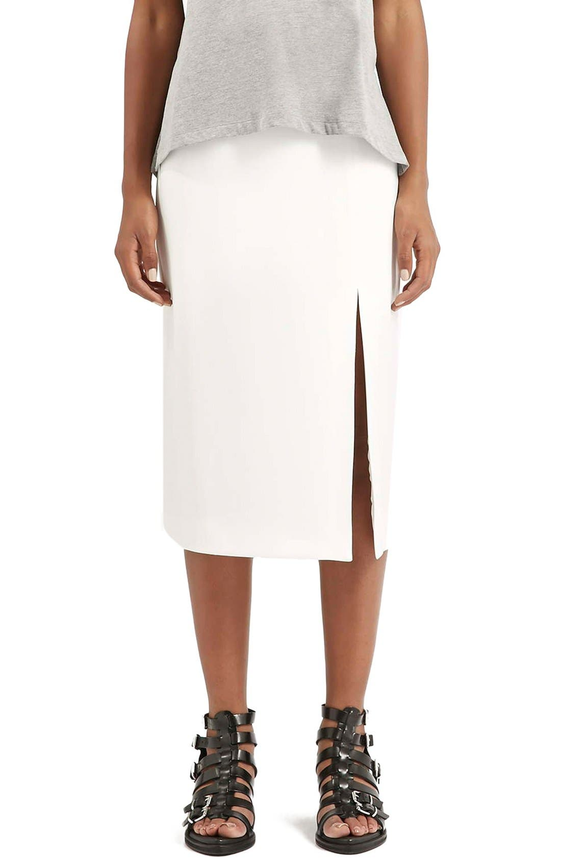 Main Image - Topshop Boutique Side Slit Midi Skirt