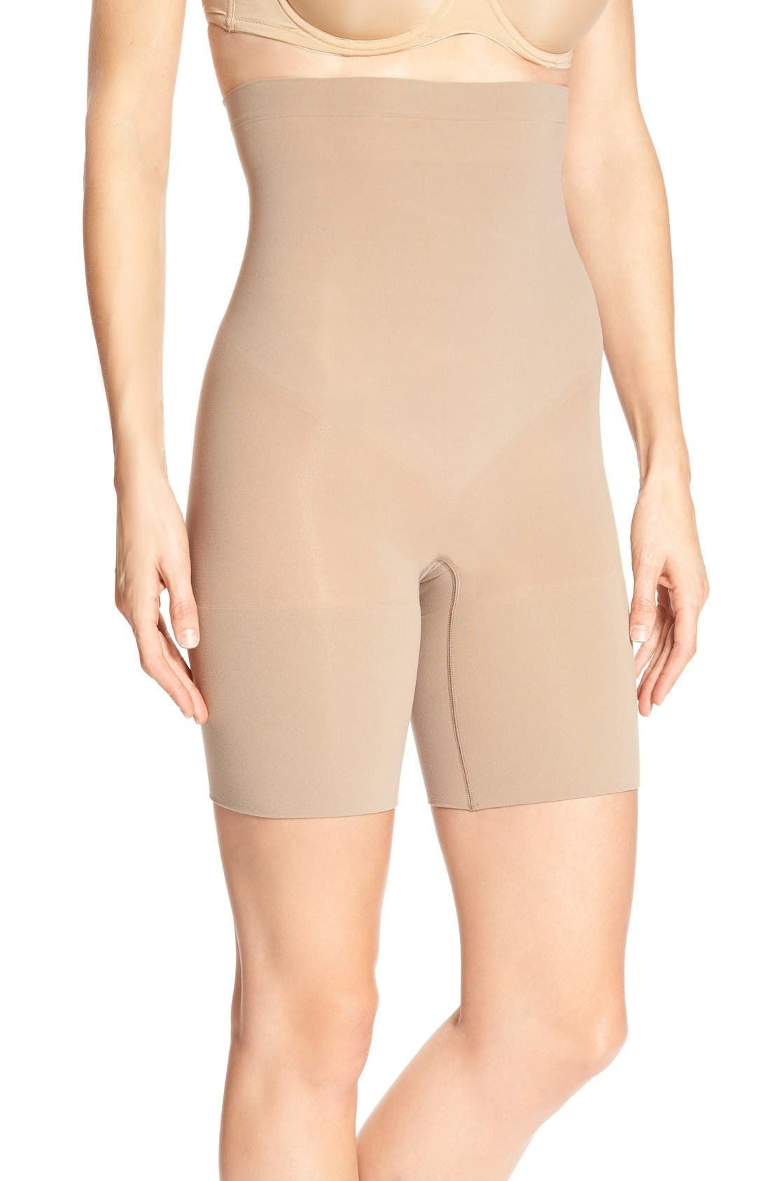 Alternate Image 1 Selected - SPANX® Higher Power Mid-Thigh Shaping Shorts (Regular & Plus Size)