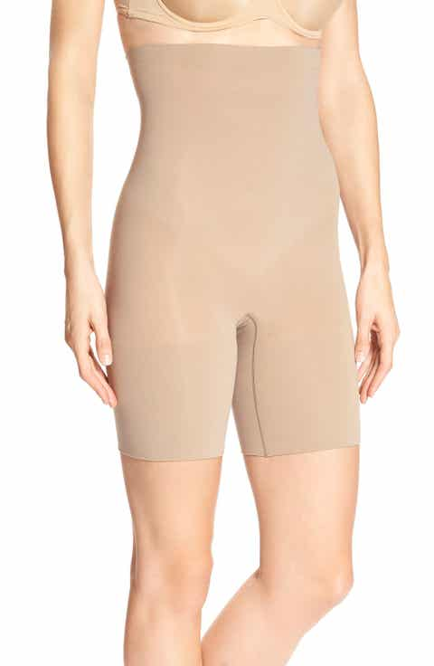 spanx higher power mid thigh shaping shorts regular plus size