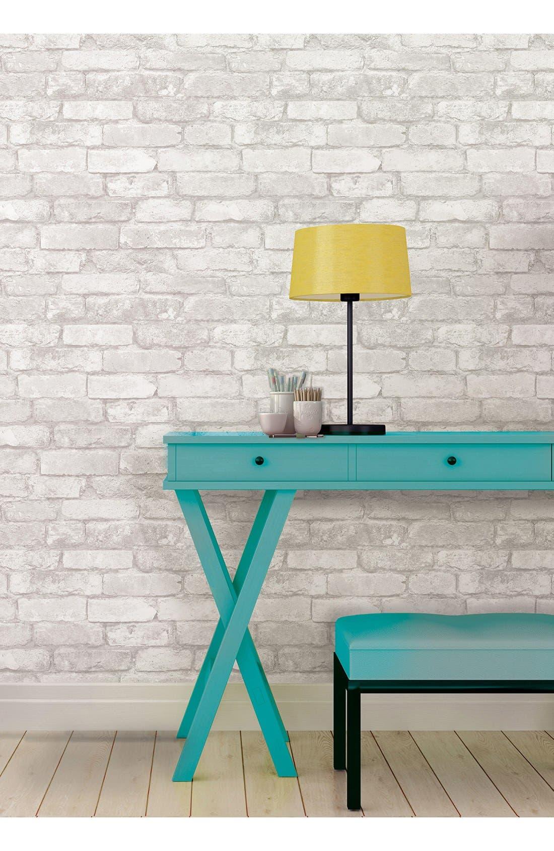 Alternate Image 2  - Wallpops 'Grey & White Brick' Reusable Peel & Stick Vinyl Wallpaper