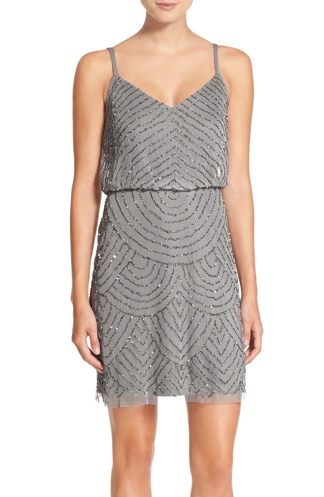 Adrianna Papell Sequin Mesh Blouson Dress