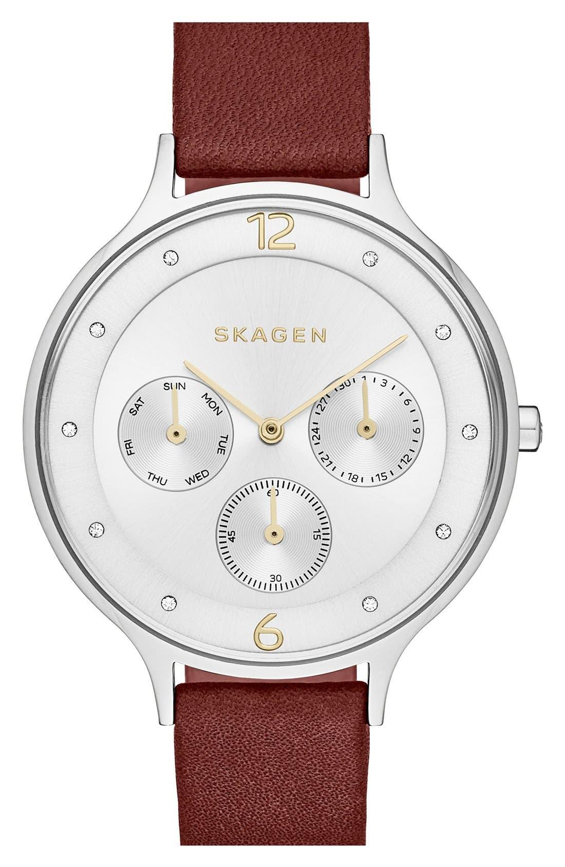 Main Image - Skagen'Anita' Multifunction Leather Strap Watch, 36mm