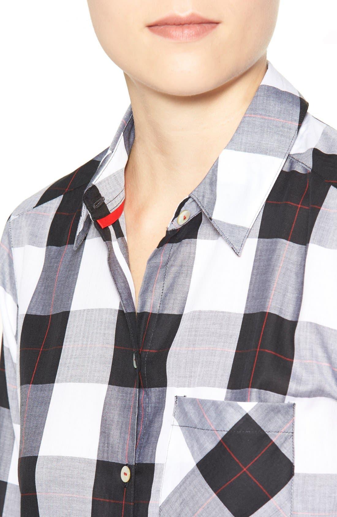 Alternate Image 4  - Foxcroft Herringbone Buffalo Check Shirt (Regular & Petite)