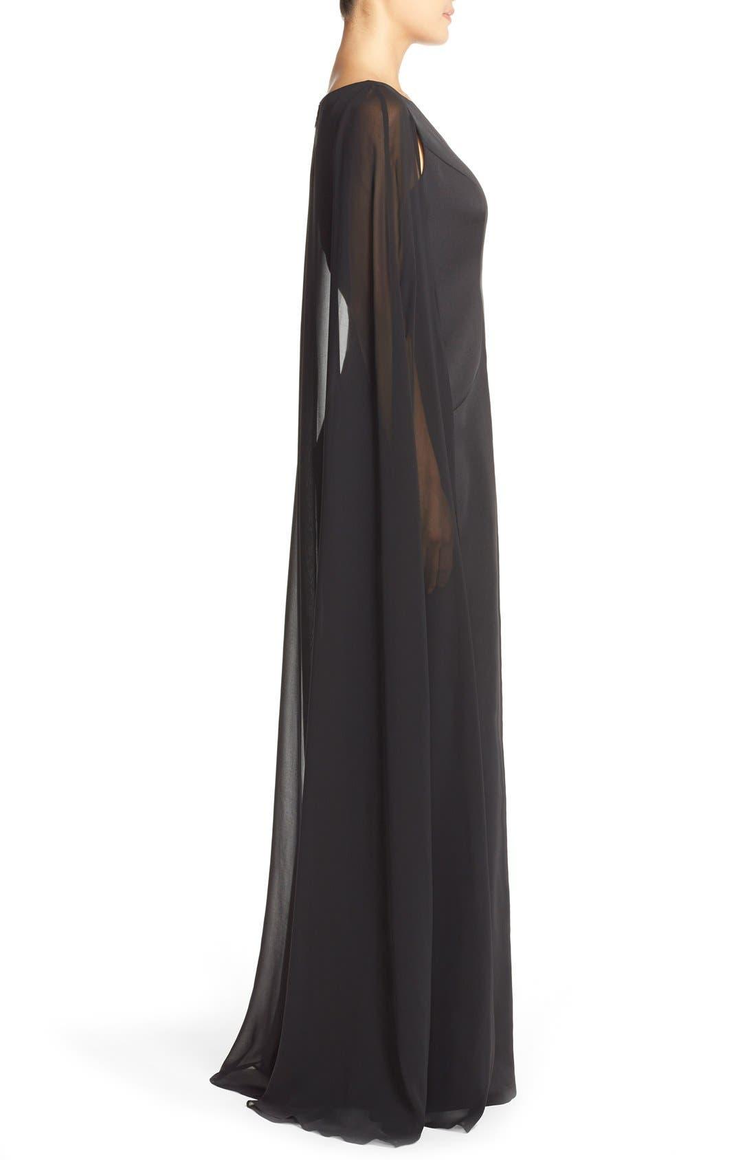 Alternate Image 3  - Adrianna PapellSatin Column Gown withChiffon Cape