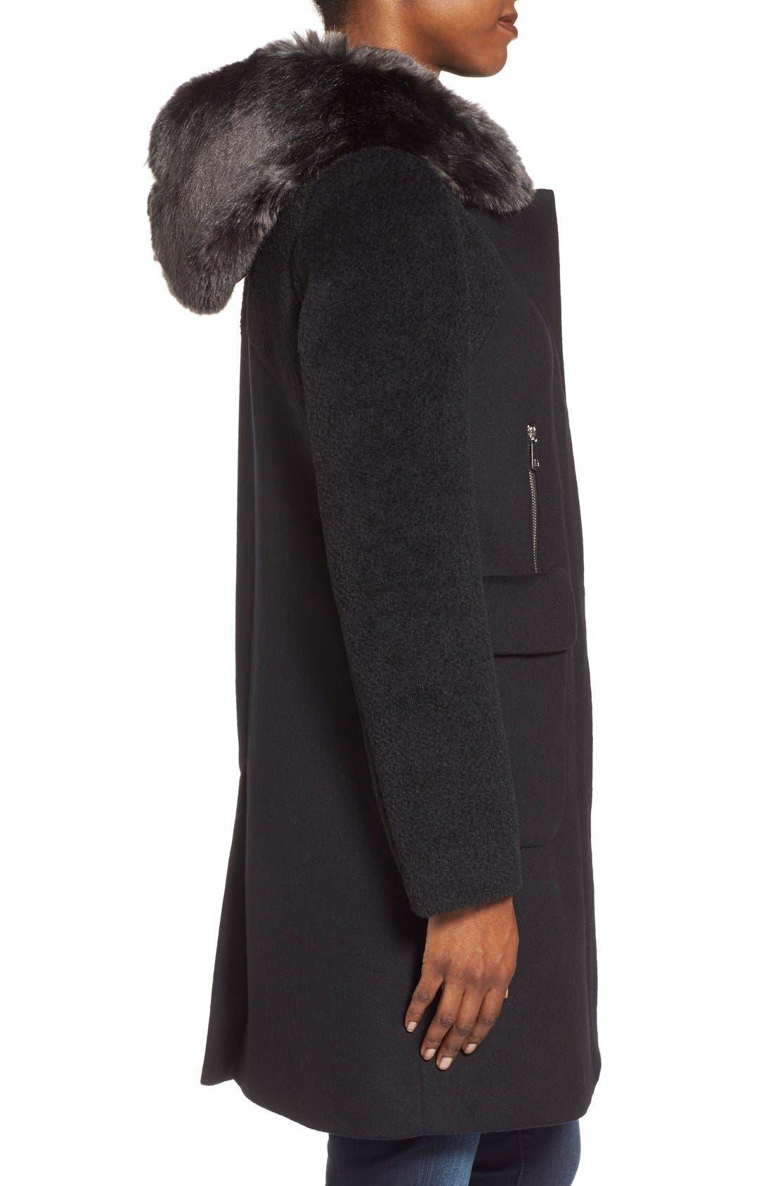 Alternate Image 3  - Dawn Levy 'Lara' Mixed Media Wool Blend Coat withFauxFur Hood