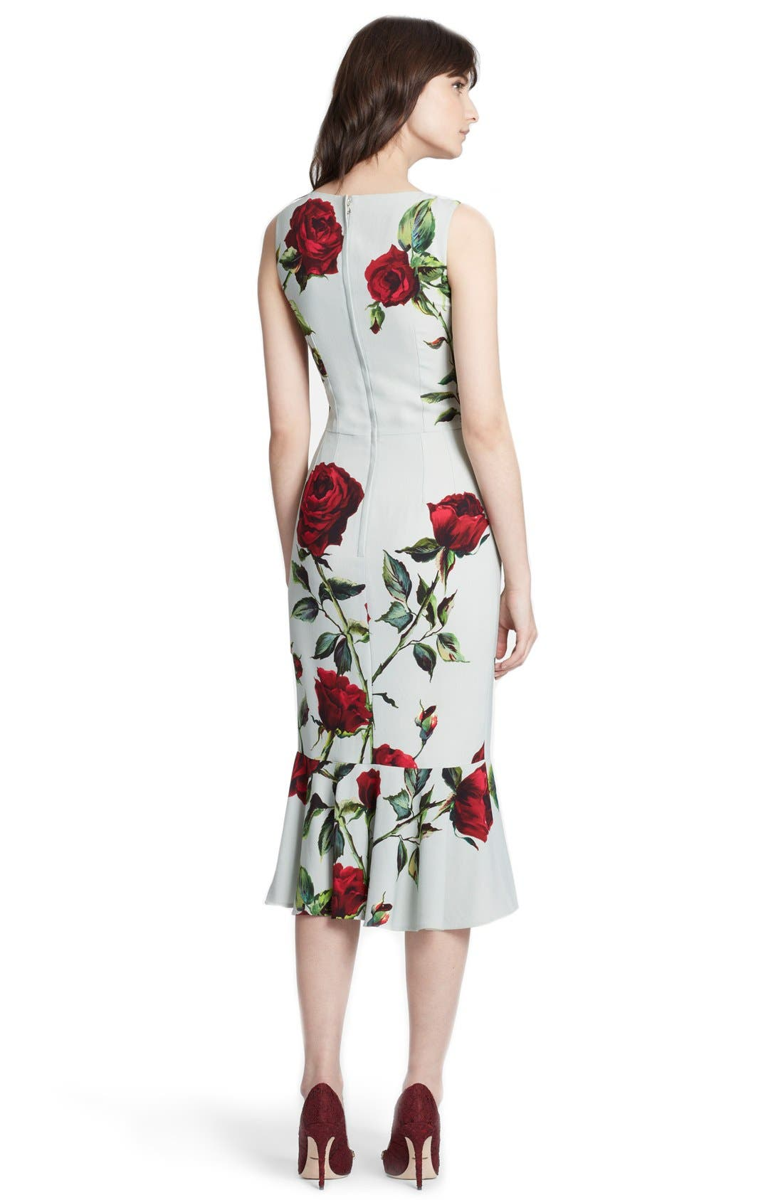 Alternate Image 2  - Dolce&Gabbana Rose Print Cady Sheath Dress