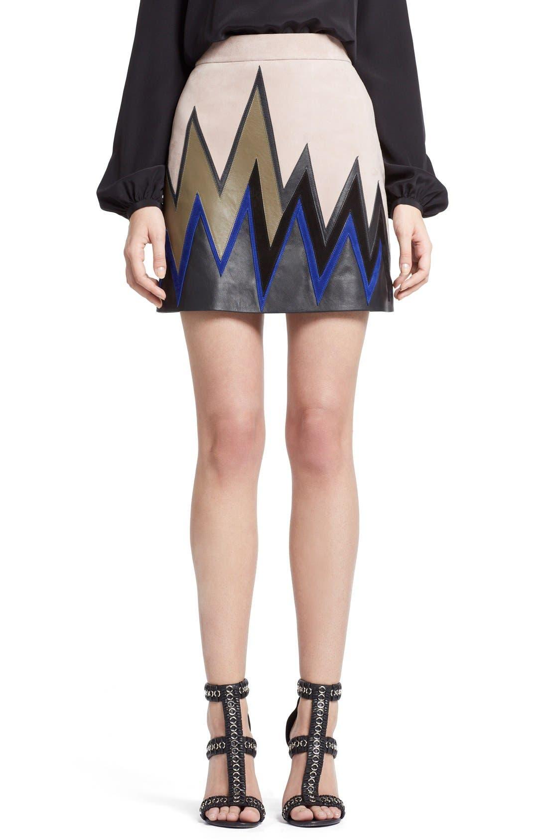 Alternate Image 1 Selected - Emilio Pucci Zigzag Leather Miniskirt