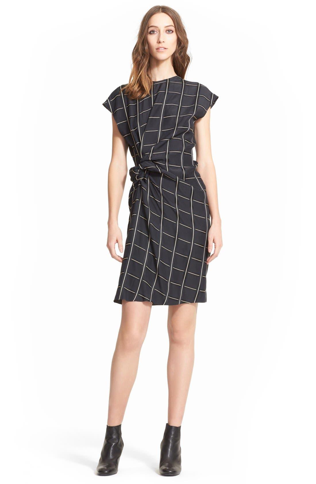 Alternate Image 1 Selected - Lanvin Side Knot Windowpane Woven Dress