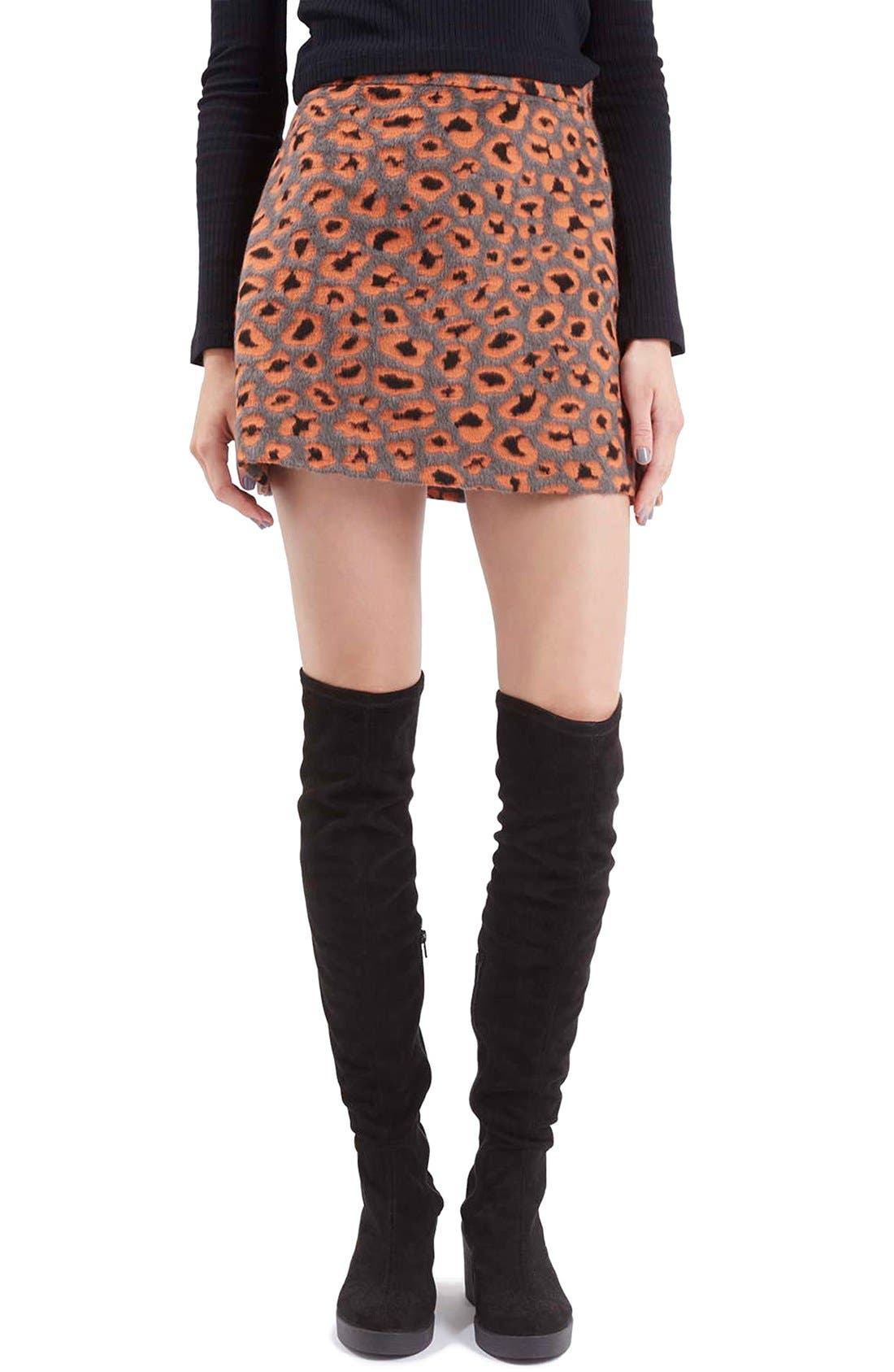 Alternate Image 1 Selected - Topshop Leopard Print A-Line Miniskirt