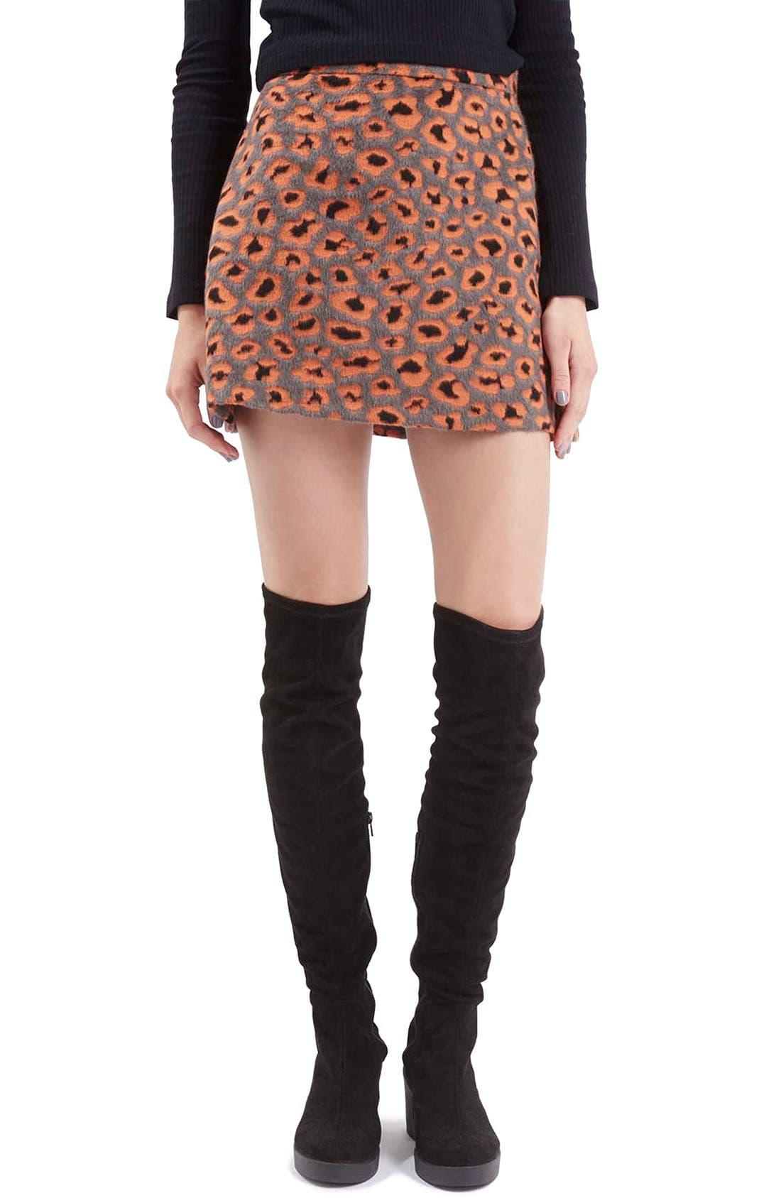 Main Image - Topshop Leopard Print A-Line Miniskirt