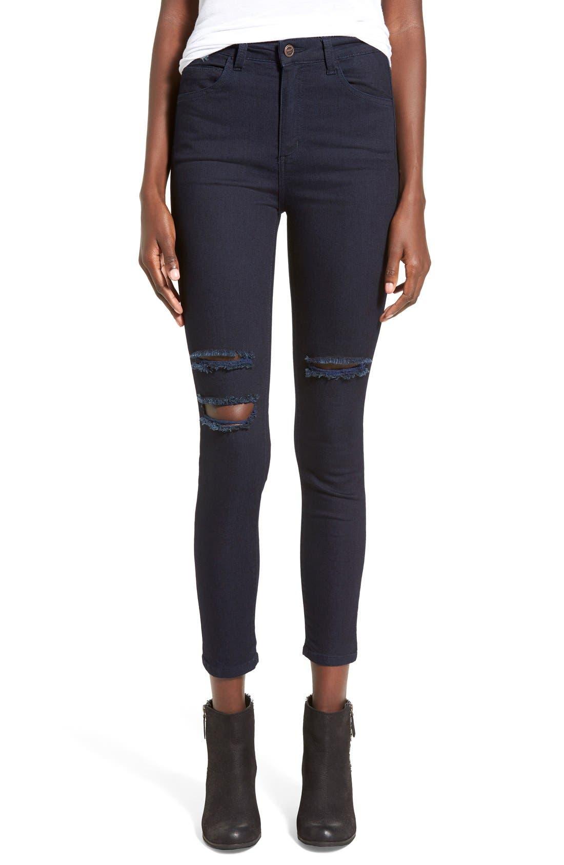 Alternate Image 1 Selected - HARTDenim'Nic'Destroyed Skinny Crop Jeans