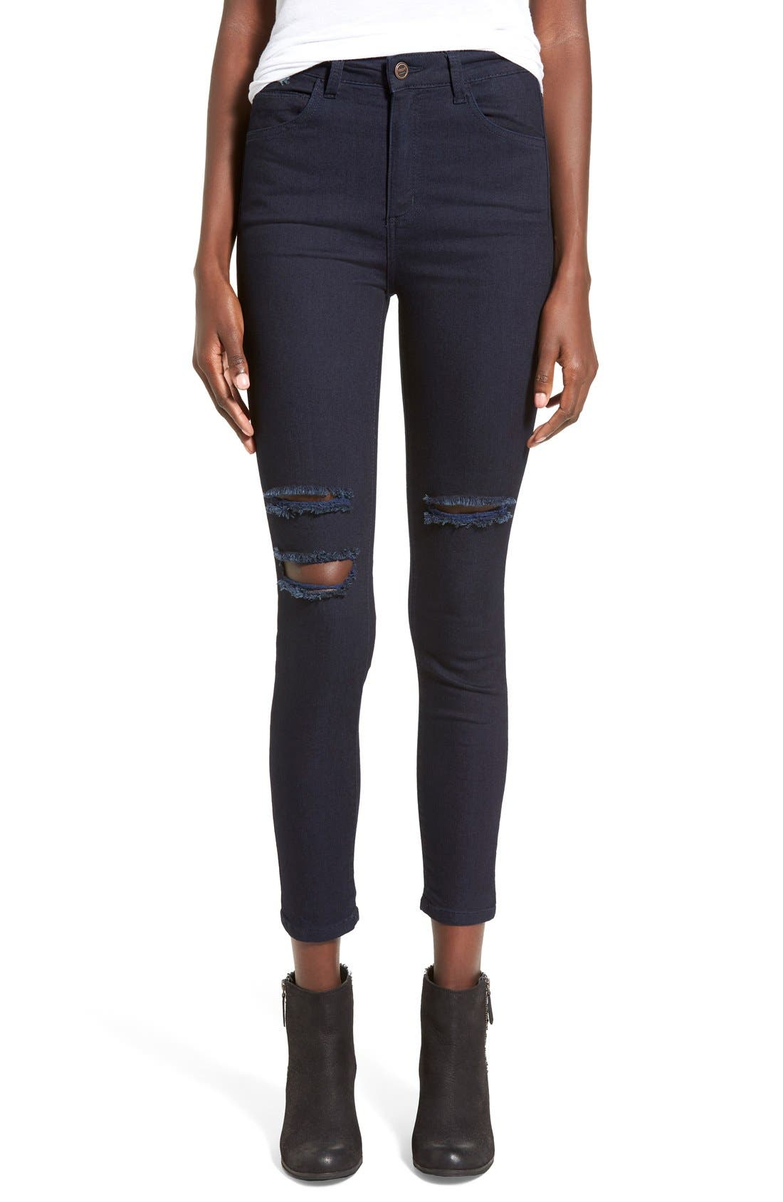 Main Image - HARTDenim'Nic'Destroyed Skinny Crop Jeans