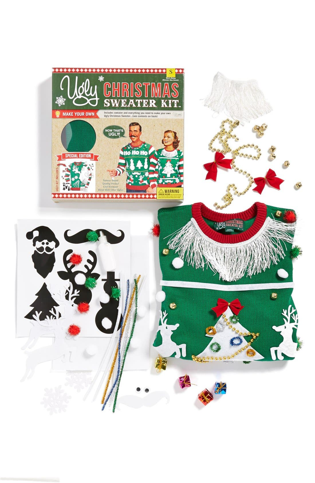 Alternate Image 3  - Ugly Christmas Sweater 'Make Your Own - Green Stripe' Sweater Kit