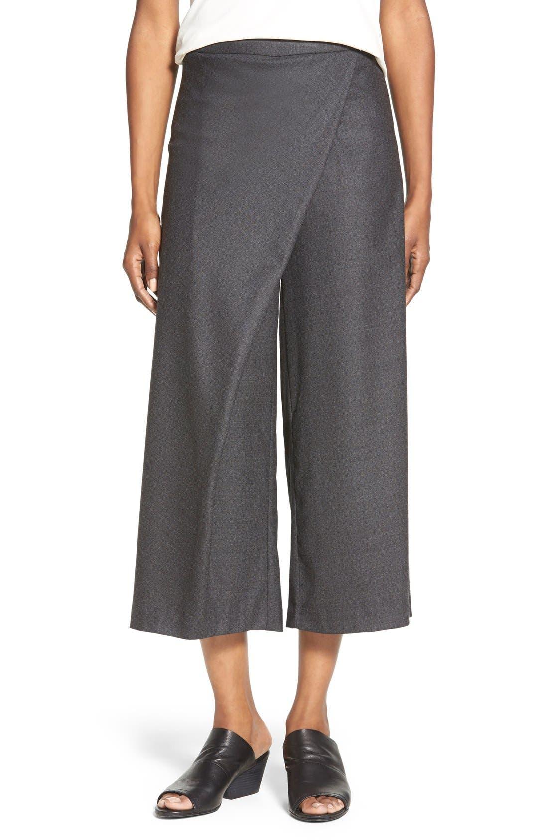 Alternate Image 1 Selected - Eileen Fisher Wool Twill Sarong Pants  (Regular & Petite)