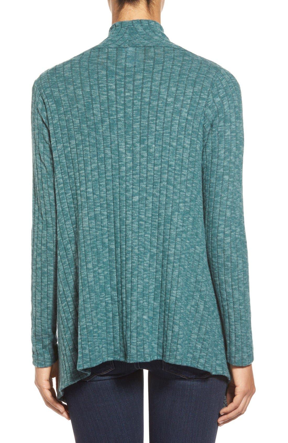 Alternate Image 2  - Bobeau One-Button Fuzzy Fleece Wrap Cardigan (Regular & Petite)