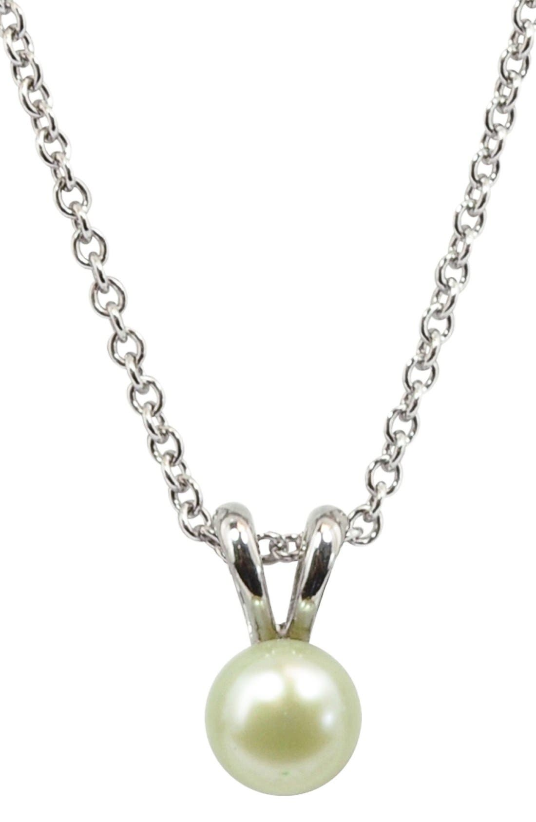 HONORA Light Green Freshwater Pearl Necklace (Girls)