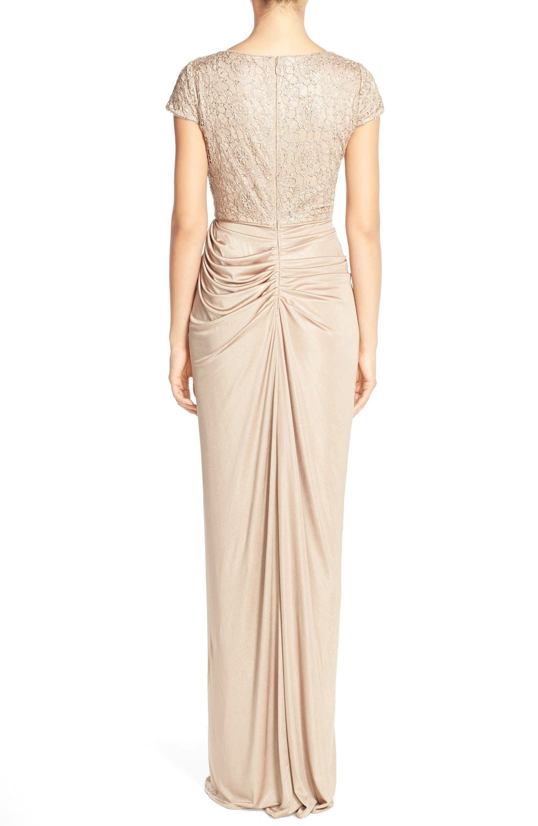 Alternate Image 2  - Adrianna Papell Lace & Ruched Jersey Gown