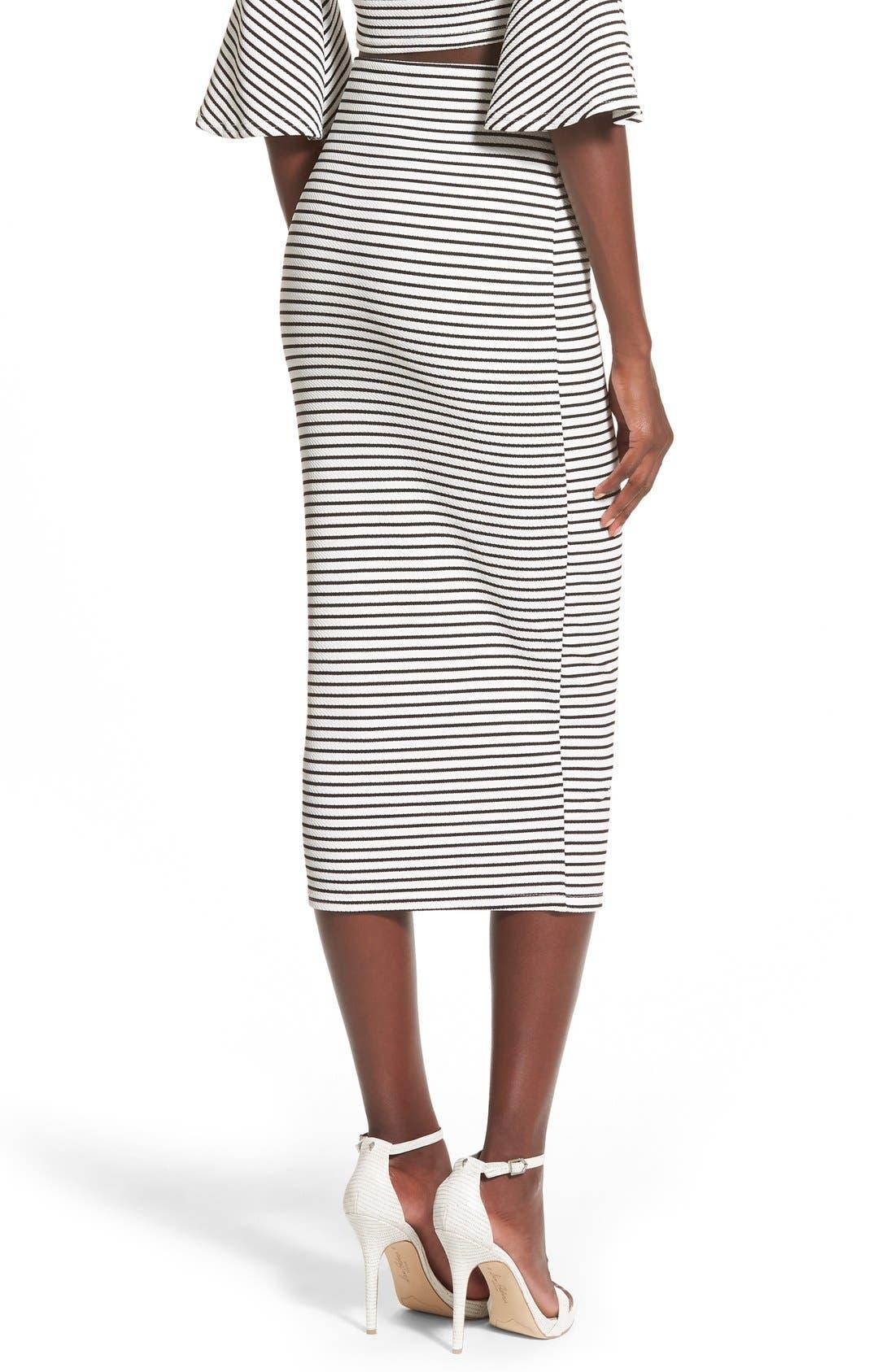Alternate Image 3  - Missguided Stripe Longline Midi Skirt