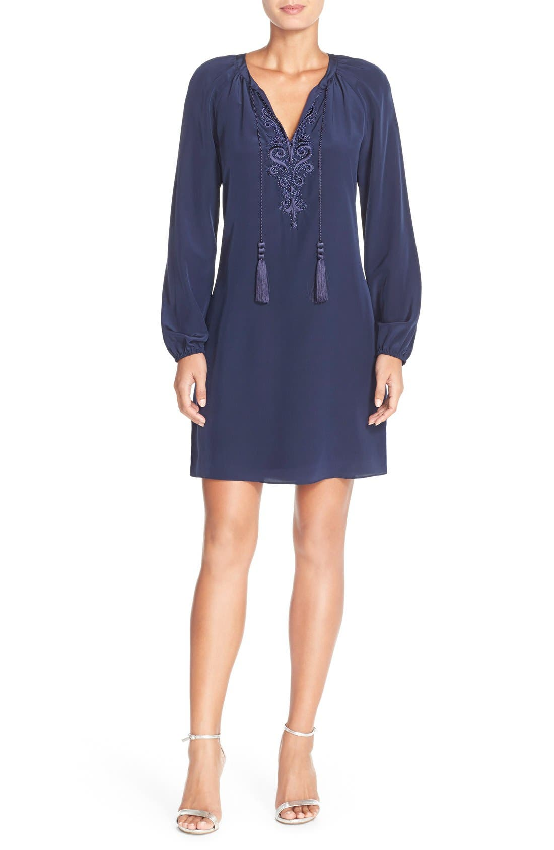 Alternate Image 1 Selected - Lilly Pulitzer® 'Roslyn' Embroidered Silk Tunic Dress