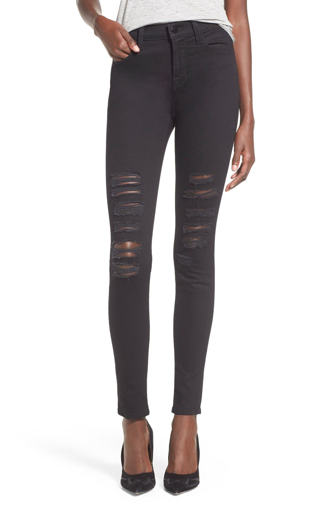 Alternate Image 1 Selected - J Brand Maria Ripped High Waist Skinny Jeans (Blackheart)