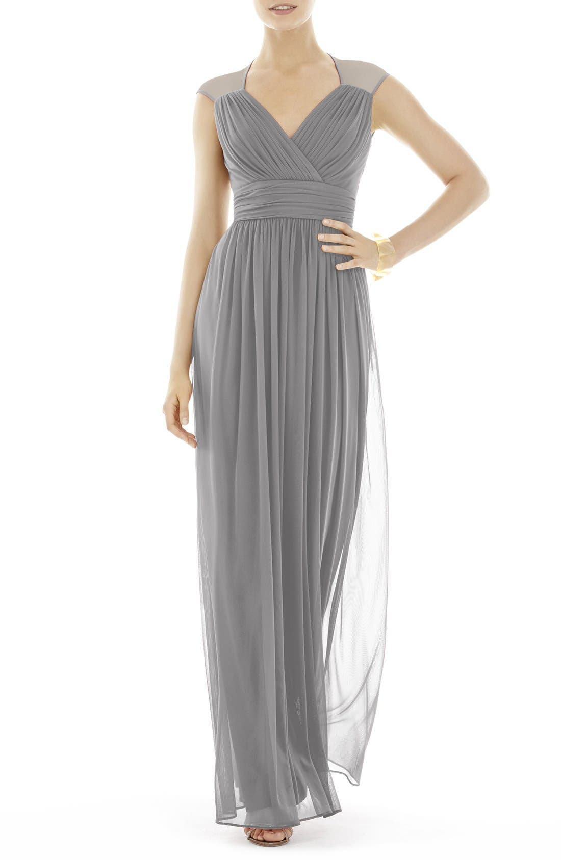 Alfred Sung Shirred ChiffonCap Sleeve Gown