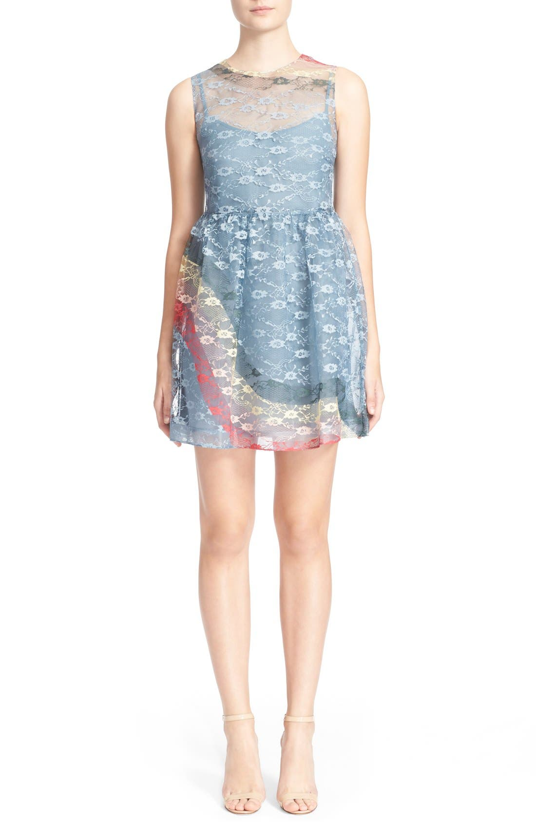 Alternate Image 1 Selected - RED Valentino Rainbow Lace Fit & Flare Dress