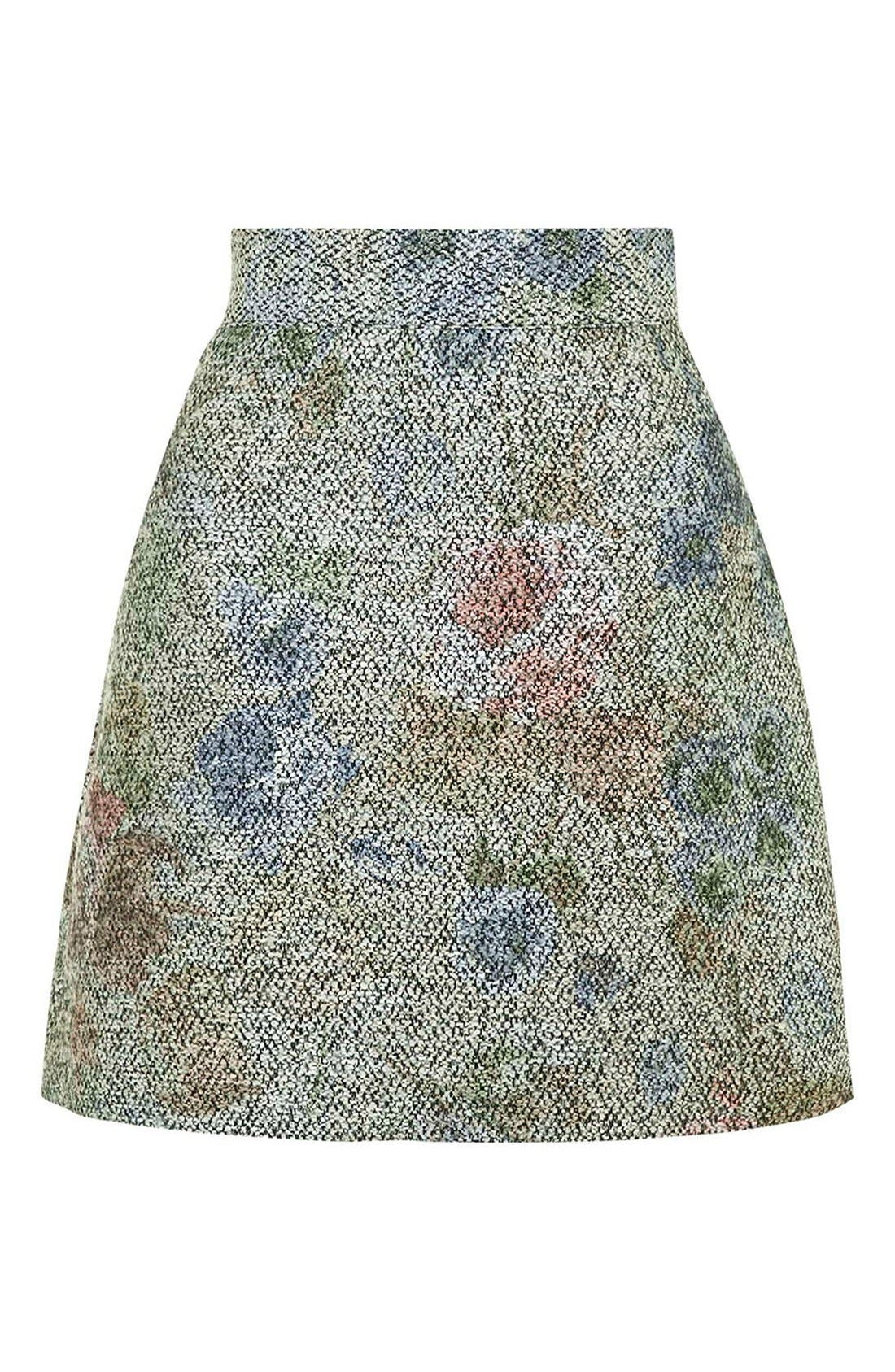 Alternate Image 4  - Topshop Metallic Floral Bouclé Skirt