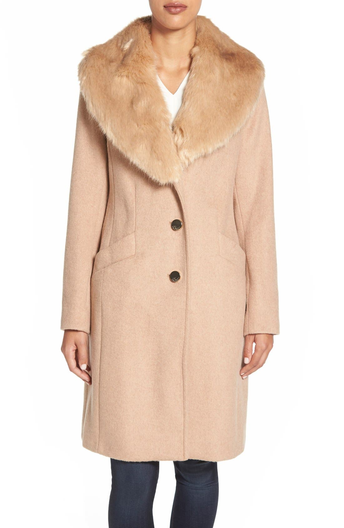 Main Image - Eliza J Faux Fur Collar Long Wool Blend Coat
