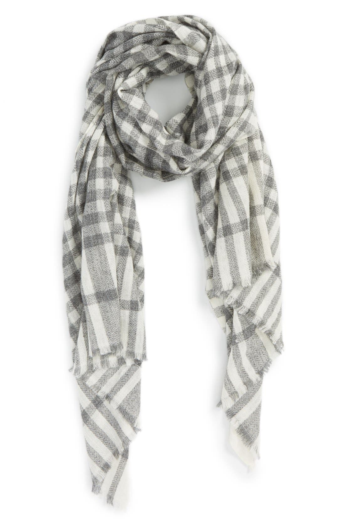 Alternate Image 1 Selected - Sole Society Plaid Wool Scarf