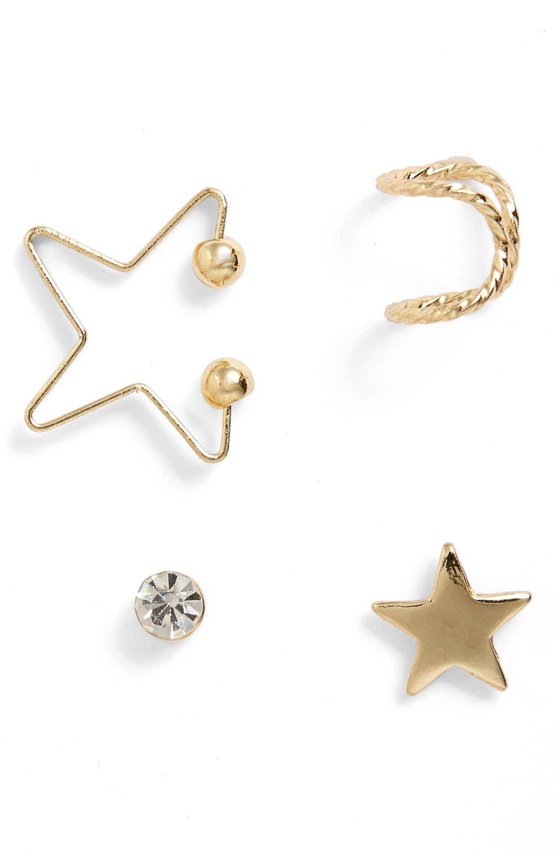 Main Image - Topshop Star Ear Cuff & Earrings (Set of 4)