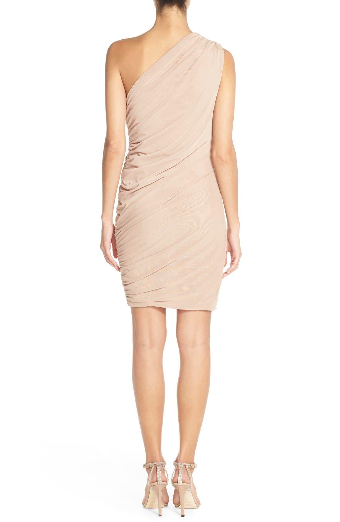 Alternate Image 2  - Misha Collection 'Shani' One-Shoulder Mesh Body-Con Dress