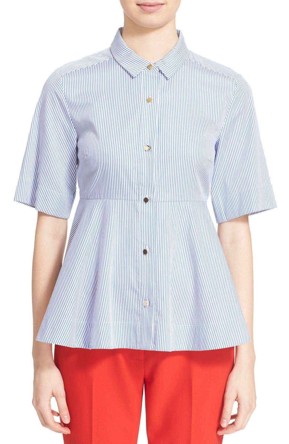 Main Image - kate spade new york stripe peplum shirt