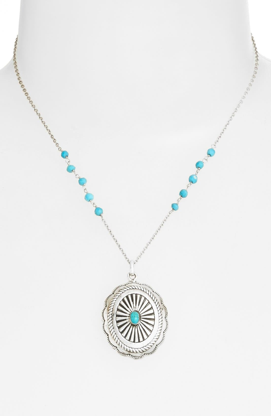 Alternate Image 2  - Argento Vivo 'Southwest' Turquoise Scalloped Pendant Necklace