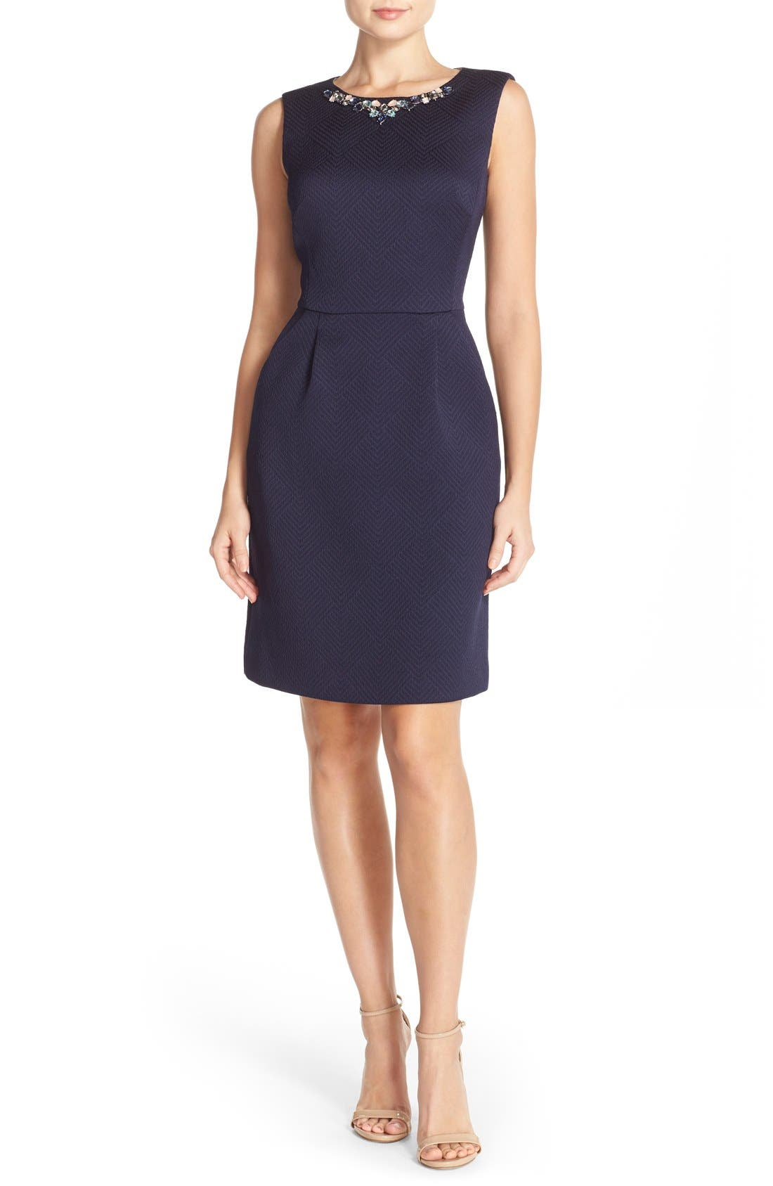 Alternate Image 6  - Tahari Bejeweled Neck Jacquard Sheath Dress (Regular & Petite)