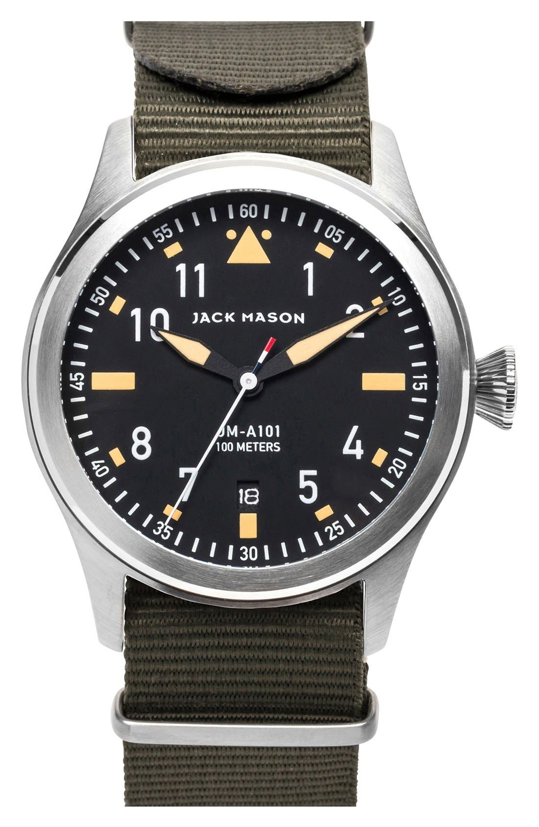 JACK MASON Aviation NATO Strap Watch, 42mm