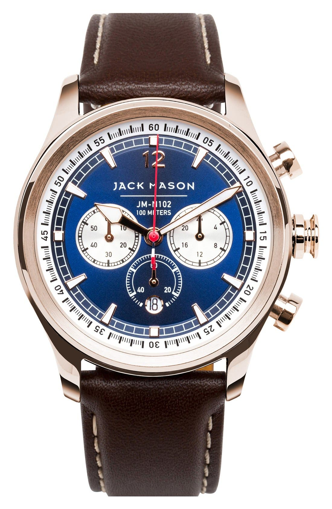 Alternate Image 1 Selected - Jack Mason Nautical Chronograph Leather Strap Watch, 42mm