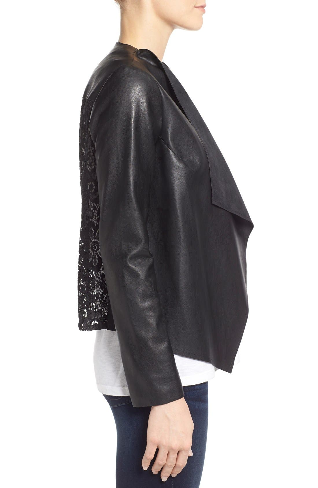 Alternate Image 3  - KUT from the Kloth 'Mira' Lace Back Faux Leather Jacket